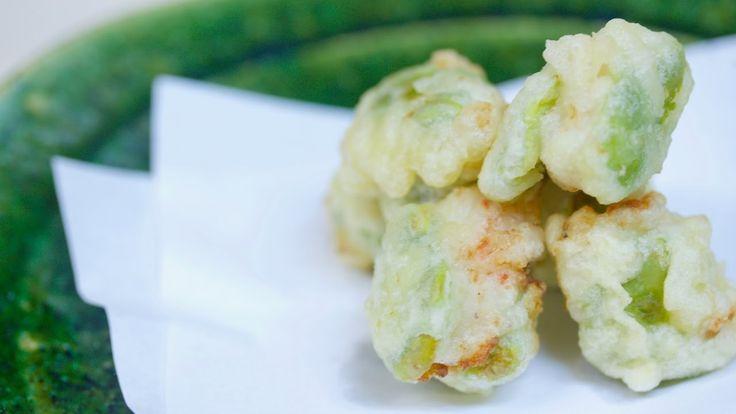簡単家つまみ♪そら豆と海老の天ぷら Tempura of broad bean&prawn