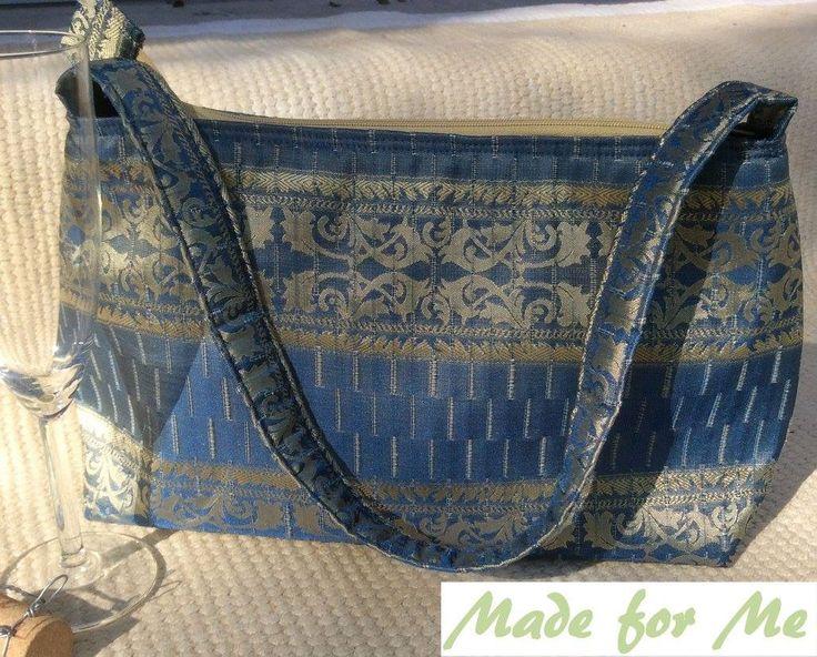 Blue and gold sari type fabric makes a gorgeous handbag