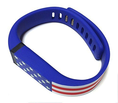 Large American Flag Color Replacement Band With Clasp for Fitbit FLEX Only No tracker Wireless Activity USA United States of America US Flag Color Blue with White  Red Stripes White Stars Bracelet Sport Wristband Fit Bit Flex Bracelet Sport Arm Band Armband *** Click image to review more details.