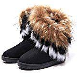 SAGUARO® Damen Stiefeletten Winter Snow Schuhe Faux Pelz Schnee Stiefel Frauen Boots Schneestiefel Warme