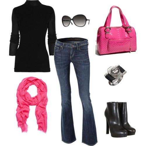 black and pink: Color Combos, Pink Pur, Outfit, Jeans, Hot Pink, Pink Scarves, Pink Accent, Boots, Pink Black
