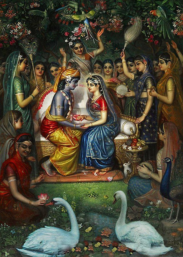 Radha and Krishna being served by the gopis.