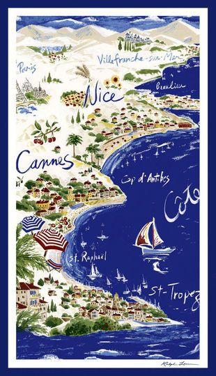 """Le drap de plage """"Côte d'Azur"""""""