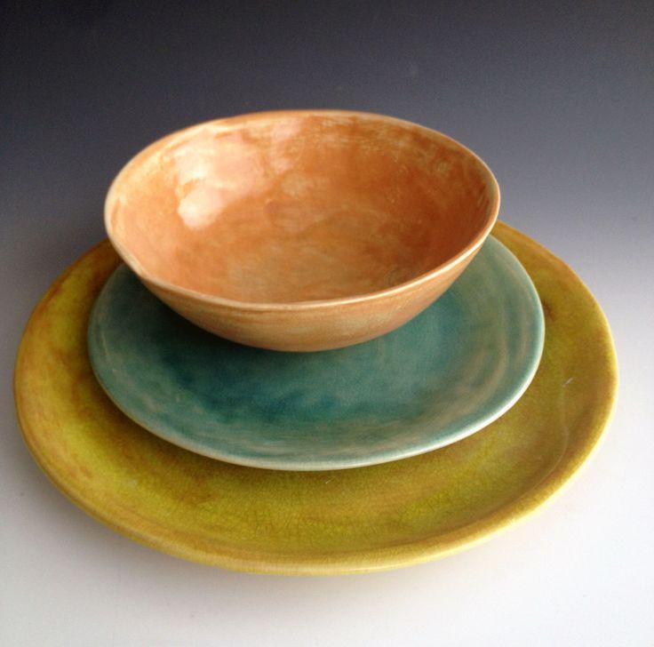 Handmade ceramic plates, dinnerware, Wedding gifts, Set of 3 Organic shaped Tableware, pottery plates Dinnerware set, by Leslie Freeman by Lesliefreemandesigns on Etsy https://www.etsy.com/listing/151739667/handmade-ceramic-plates-dinnerware