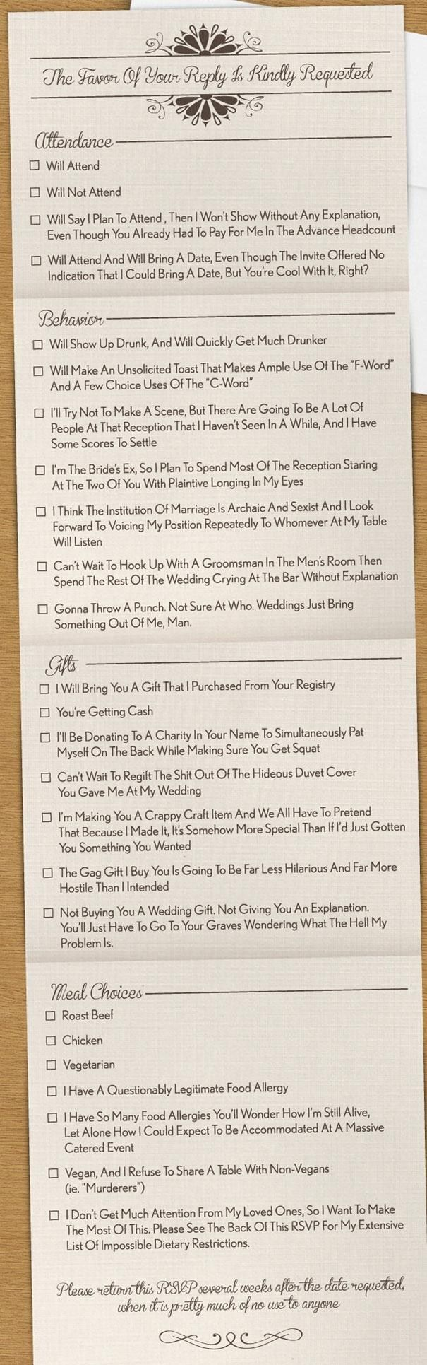 Hilarious!!! For those of you who lived through the ordeals of wedding RSVPs (and the reality of them) or for those about to plan a wedding. Enjoy.