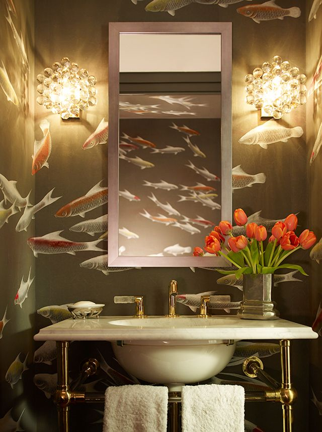 STUNNING DRAMA in this powder room I love it via  Designer Profile | Katie Ridder repin BellaDonna