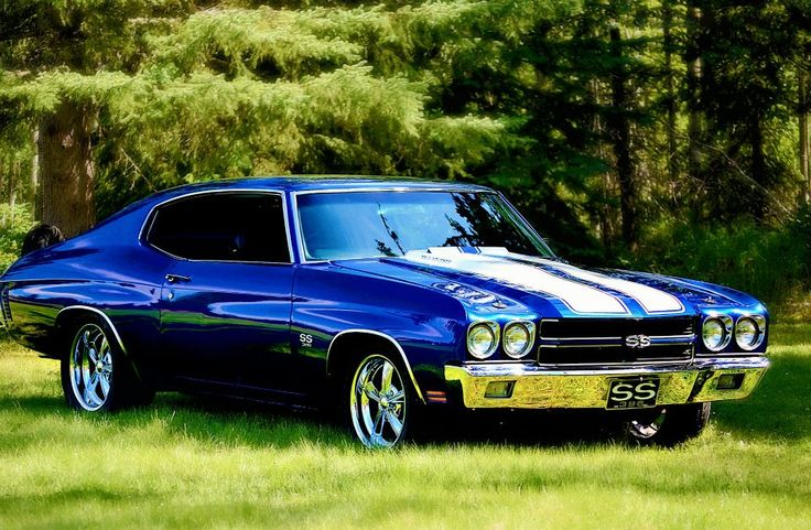1970 Chevy Chevelle SS. A beauty in blue.  I HAD A CHANCE TO GET ONE OF THESE BEAUTIES - SMOKE METALLIC GREY, BLACK COWLS AND INTERIOR--AND I LET IT GO!  20,000 ORIGINAL MILES TOO, KEPT IN AC/HEATED GARAGE!  COULD KICK MYSELF EVERY TIME I THINK ABOUT IT! *SIGHS!*--D.