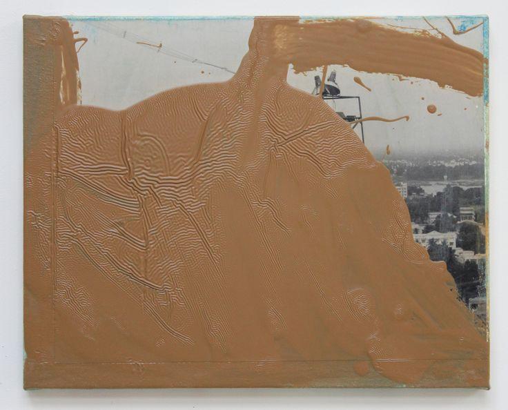 John Beech - Photo-Painting #95, 2015 / oil enamel, B/W RC photograph, PVA adhesive, canvas on wooden panel / 40.6 x 50.8 cm