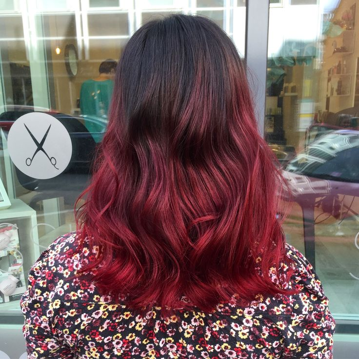 Wine red with balayage
