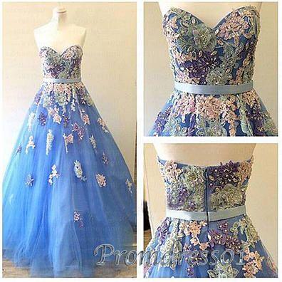Prom dress 2016, ball gowns wedding dress, pretty applique high waist long evening dress #coniefox #2016prom