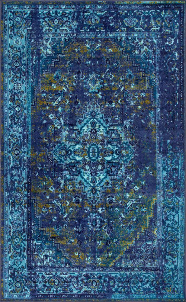 Vintage Reiko Blue 4 ft. 4inch x 6 ft. Indoor Area Rug