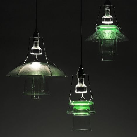 Stacked Lights by Sander Wassink and Ma'ayan Pesach combine vintage glass with coloured resin