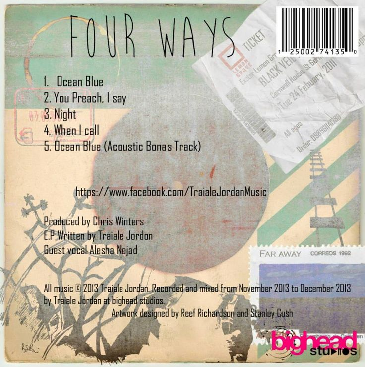 Back of album cover, four ways