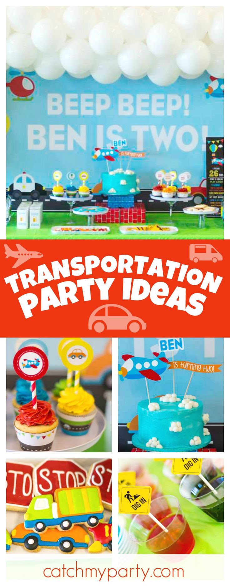 Check out this fun Transportation birthday party! The cookies are awesome!! See more party ideas and share yours at CatchMyParty.com