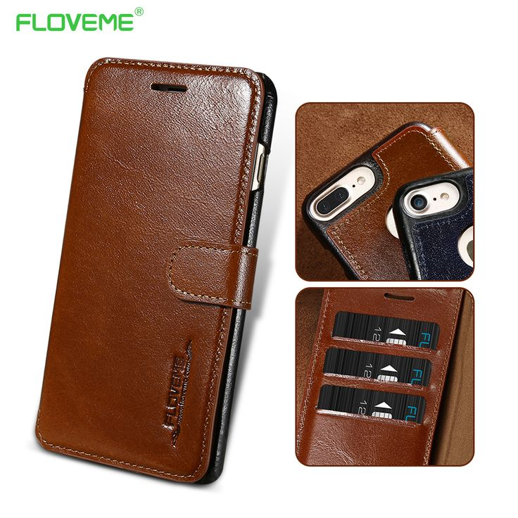 FLOVEME For i Phon 6 7 For Apple Case Genuine Leather Flip Magnetic Card Slot Cover For i Phone 6 6S 7 Plus For Apple Cover Case