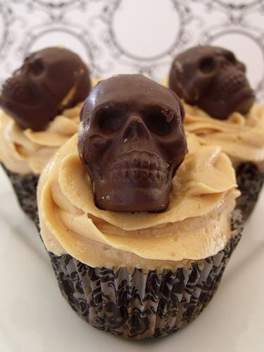 skull or halloween chocolate on top of cupcakes
