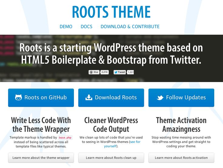 Roots is a starting #WordPress theme based on HTML5 #Boilerplate & #Bootstrap from Twitter. http://www.rootstheme.com/
