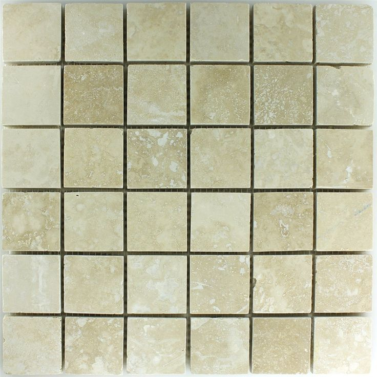 Travertin Mosaik Fliesen Beige Gespachtelt 48x48x10mm