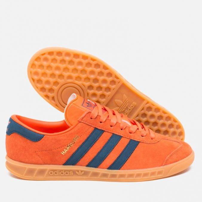 Кроссовки adidas Originals Hamburg Super Orange/Sub Blue/Gum фото- 2