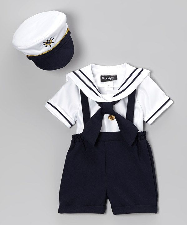 Look what I found on #zulily! Fouger for Kids Navy  White Sailor Shorts Set - Infant, Toddler  Boys by Fouger for Kids #zulilyfinds