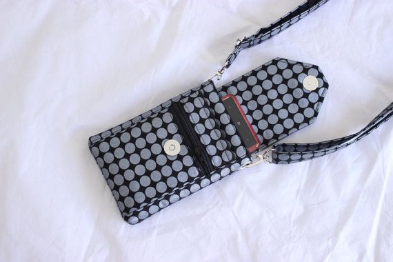 Cell phone mobile phone bag small purse pouch crossbody or side bag in Michael Miller Mirror Ball by Tracey Lipman