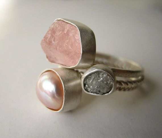 Rough Diamond, Rough Morganite and Natural Pearl Stack Ring Set - Engagement , Wedding on Etsy, $345.00