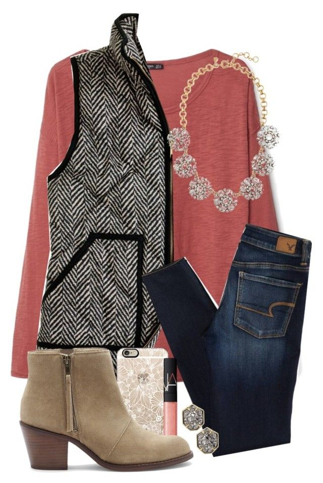 """""""Want this vest"""" by hgw8503 ❤ liked on Polyvore featuring MANGO, J.Crew, American Eagle Outfitters, Casetify, NARS Cosmetics, Sole Society, Kendra Scott, women's clothing, women and female"""