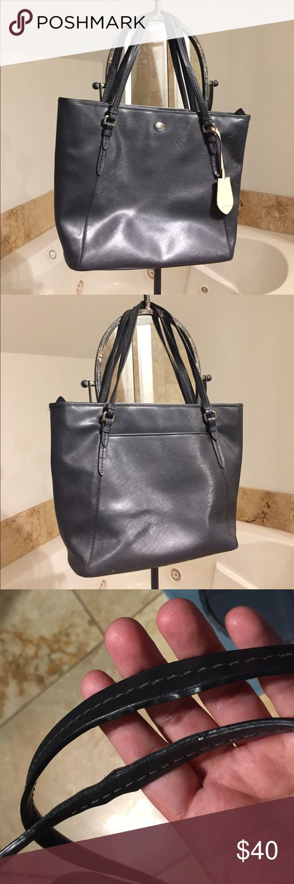 Black Coach Purse Black Coach Purse. Used heavily, see pictures for obvious signs of wear on straps. It is slim but still large enough to hold an iPad so it went to work with me a bunch and can use some cleaning. Otherwise good condition. Smoke and pet free home. Coach Bags Shoulder Bags