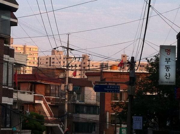 이재훈 @Bnangin / 용산구청 뒷골목 주택가 여러 곳에 저런 빨간 깃발이 꽂혀 있군요. 이게 무슨 뜻인지 혹시 아시는 분 계신가요? 재개발 반대 의사를 밝히는 건가?; / #골목 #동네 #표지 / 2013 06 23 /