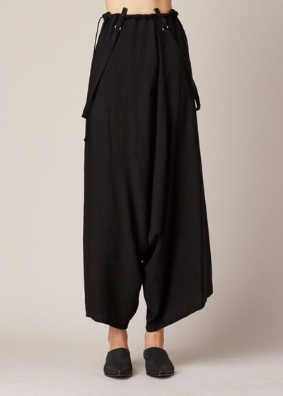 Y's by Yohji Yamamoto Suspender Sarouel Pants (Black)