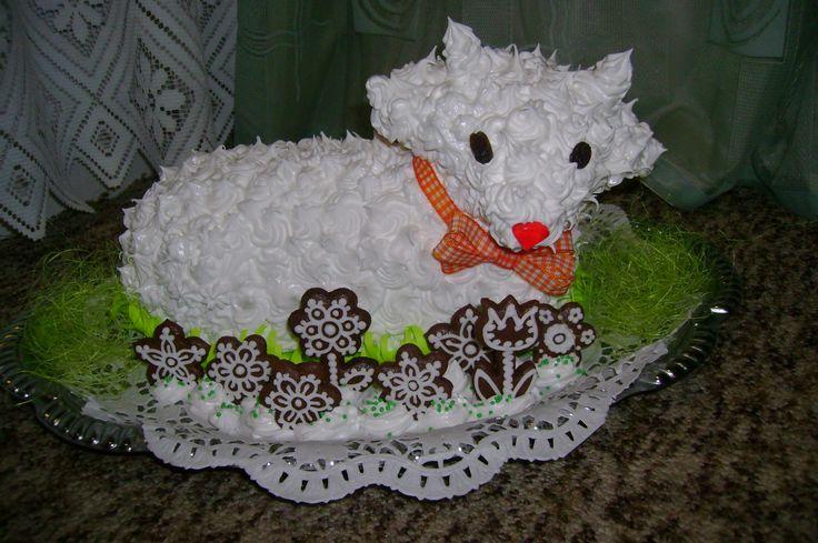 Zdobený sněhem z bílků a cukru