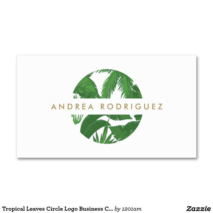 Tropical Leaves Circle Logo Business Card Template For Blogger Interior Designer Swimwear Company