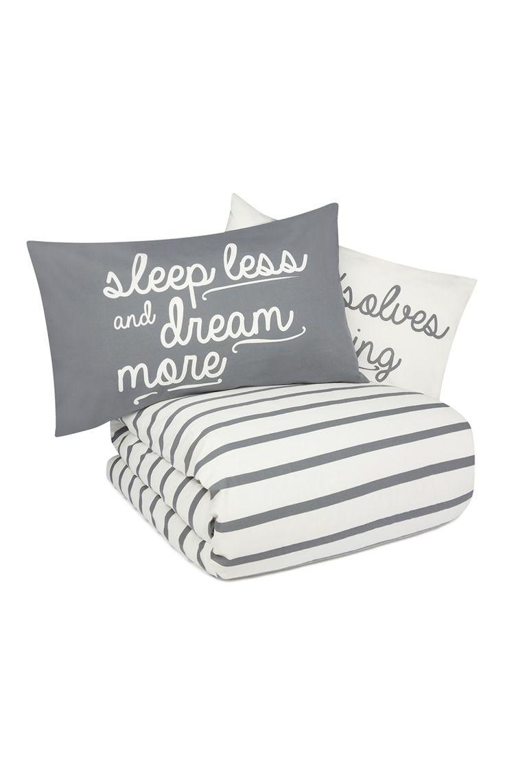 Primark - Grey Stripe Slogan King Size Duvet Set - £13