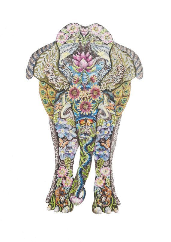 Decorative Indian Elephant fine art giclee print on Etsy, £20.00