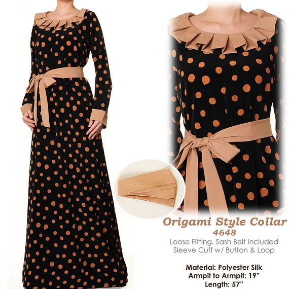 Origami Style Neckline Islamic Abaya Polkadot Long by MissMode21, $28.00