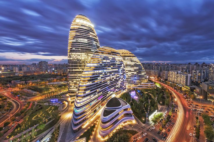 Wangjing SOHO night panorama, Beijing, China