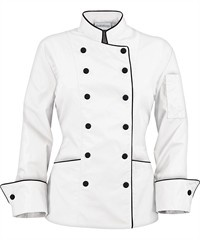 Women's Traditional Chef Coats - Contrast Piping - Fabric Covered Buttons - 65/35 Poly/Cotton
