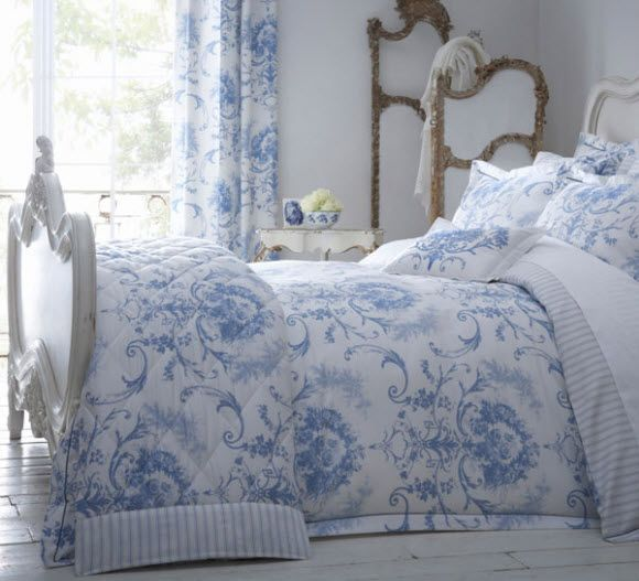 Toile Blue Bedding 16