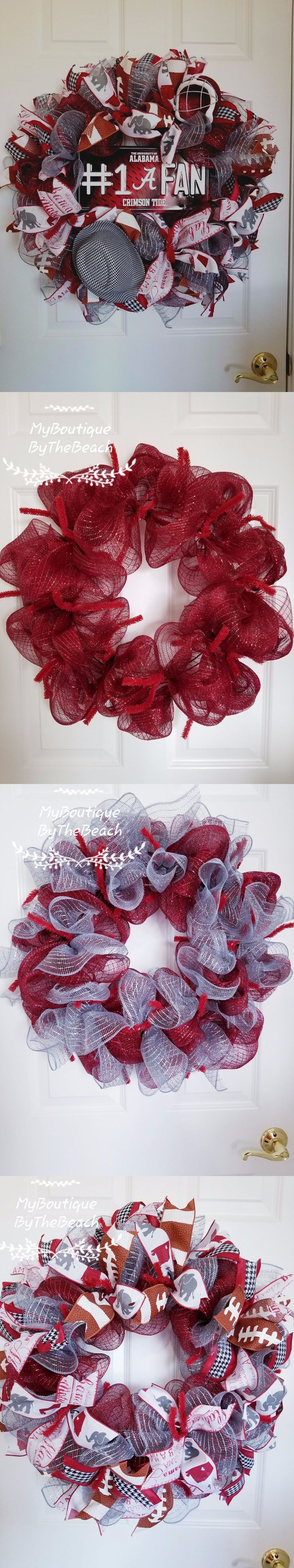 Door D cor 36020: Deco Mesh Wreath - Alabama Crimson Tide Mesh Wreath - Alabama Gift - Fall Wreath -> BUY IT NOW ONLY: $70 on eBay!
