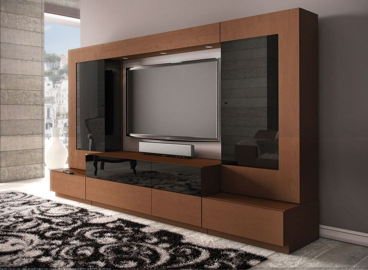 Living Room Tv Design Ideas Elegant Black And Brown Cabinets Furniture Modern