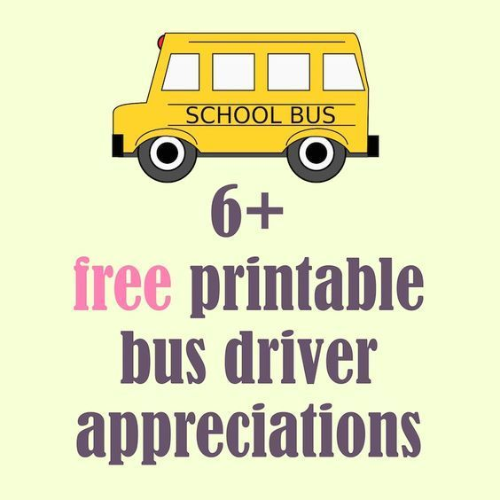 Free printable school bus driver appreciations - round-up   MeinLilaPark – DIY printables and downloads: