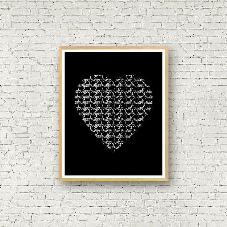 Love you, coeur noir et blanc, Love Wall Art, blanc et noir, décoration contemporaine, affiche scandinave, décor scandinave, affiche amour de la boutique MamzelleJules sur Etsy