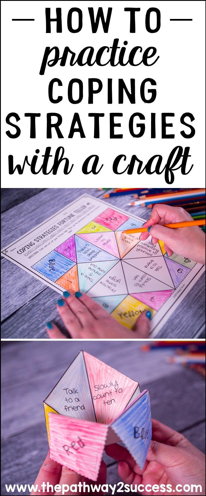 Coping strategies help kids and young adults manage their strongest emotions in positive ways. Kids can learn to listen to music, take a walk, color, and much more. Use this guide to show you how to practice coping strategies with a fun craft. #pathway2success #copingstrategies #specialeducation