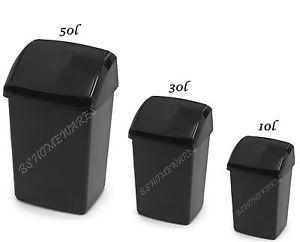 Black Bin 50L 30,10 Litre Plastic Swing Bin Waste Rubbish Dustbin Kitchen Office