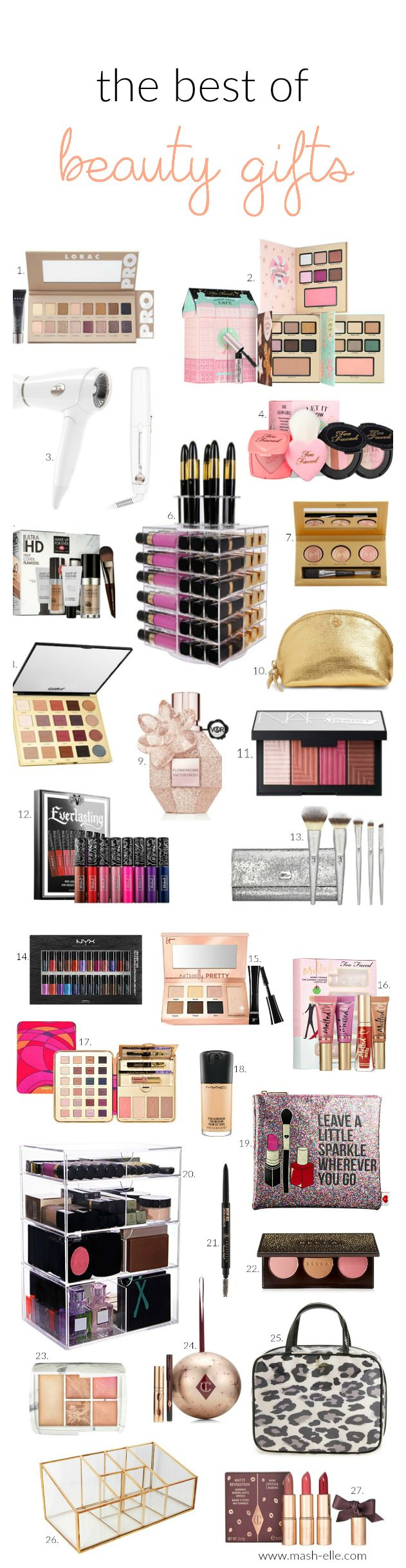 Kat Von D, Charlotte Tilbury, NYX, Sephora, Kate Spade, HOURGLASS, MAC and Target beauty! Perfect for a unique and fun gift for the women in your life!