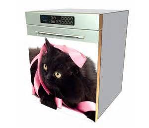Magnet lave vaisselle chat noir au ruban rose - Magnet Animal