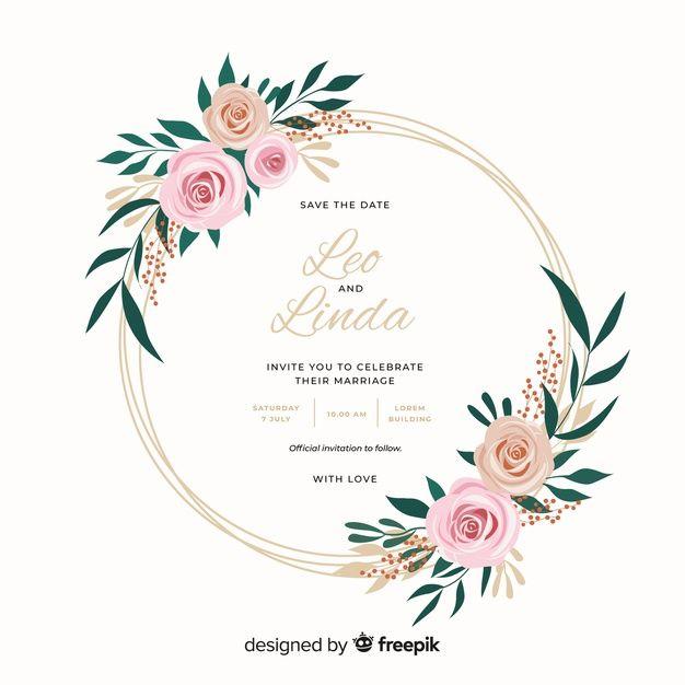Beautiful Flat Design Of Floral Frame Wedding Invitation Free Vector Free Vector Freepik Vector Fre Wedding Frames Floral Vector Free Floral Border Design
