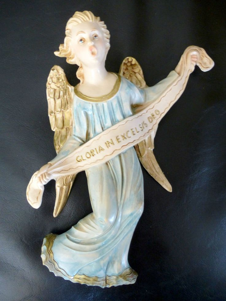 Vintage FONTANINI ITALY ANGEL Gloria in Excelsis Deo Large Blue Large 9""