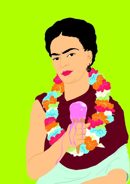 Frida Khalo con un helado