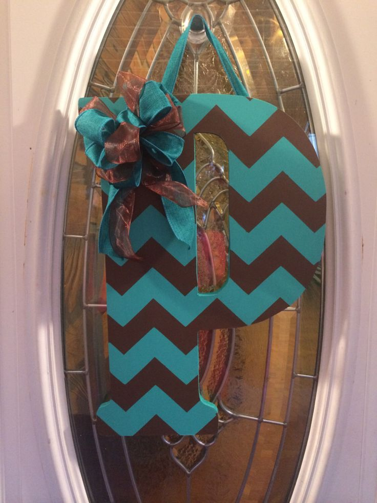 "P 18"" Custom Chevron Monogram Initial Wood Door hanger or Wall Hanger doorhanger by ADoorableDeco on Etsy https://www.etsy.com/listing/203084799/p-18-custom-chevron-monogram-initial"